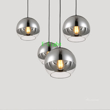 Copper /silver Mirror chrome Ball Lustre Chandelier LED Pendant Globe Glass Ball Bubble Lamp Christmas Light Fixture living room(China)