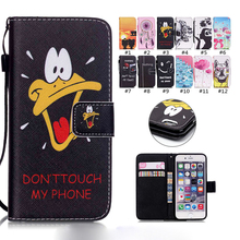 Cartoon Leather Wallet Flip Phone Cover Case for iPhone 6 6S Plus iPod touch 5/6 4 4S 5C 5S SE Protective Silicone Coque