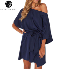 Lily Rosie Girl Navy Blue Off Shoulder Sexy Mini Dress Women Slash Neck Batwing Sleeve Autumn Winter Party Short Dresses Vestido