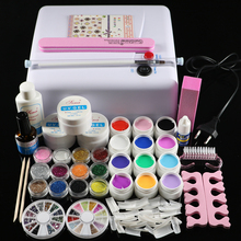 ATT-76 Professional Full Set 12 color UV Gel Kit Brush Nail Art Set + 36W Curing UV Lamp kit Dryer Curining Tools(China)