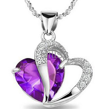 Blue Purple Fashion Necklace For Women 925 Sterling Silver CZ Heart Pendant Necklace Ladies Gifts Jewelry bijoux femme(China)