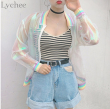 Lychee Harajuku Summer Women Jacket Laser Rainbow Symphony Hologram Women Coat Iridescent Transparent Bomber Jacket Sunproof