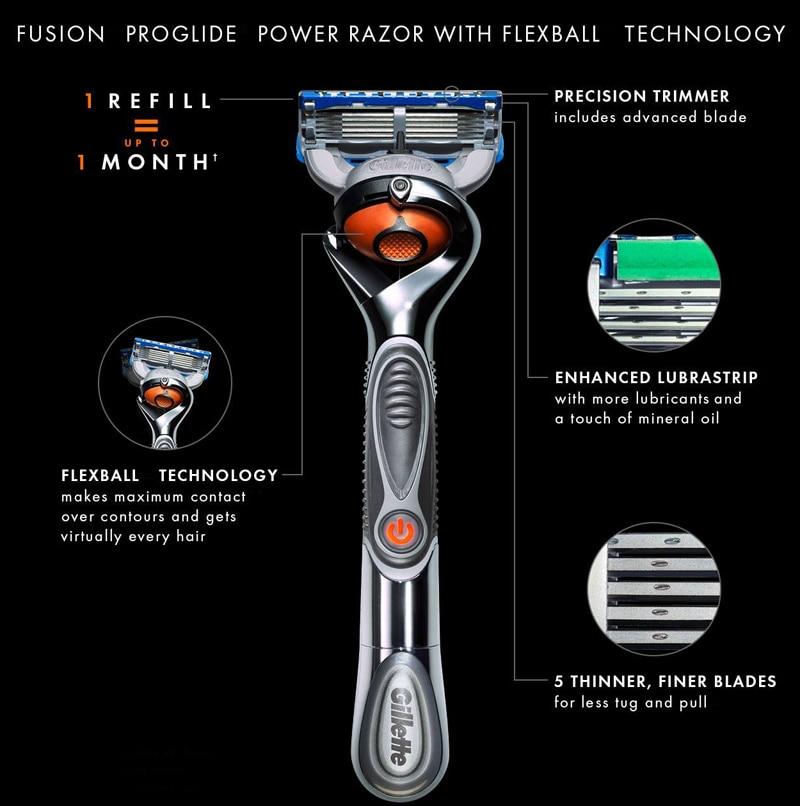 4 Gillette Fusion Proglide Flexball Power Razor Electric Shaving Razors Blades for men Safety Shave Men\'S Beard Shaver 1 Holder 5 Blade