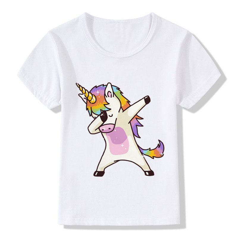 PPXX 2018 New Summer Top Girl Boy T Shirt Unicore Panda Dab Top Short Sleeve Tshirts Kid Cloth Children Clothing Cartoon Casual