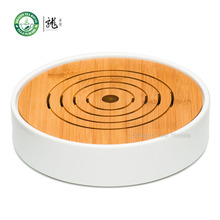 Flat Round White Porcelain Bamboo Kungfu Serveware Tea Table Serving Tray 23x23cm