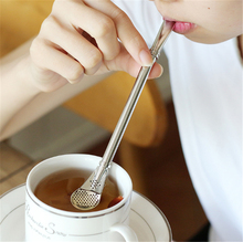 Creative Stainless steel straw spoon Anti skid coffee mixing spoon Juice residue Filtering straw Scoop Tea infuser Bar T(China)