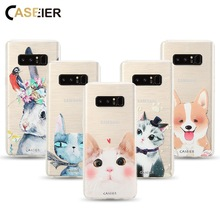 CASEIER Cute Cat Dog Case For For Samsung Galaxy S6 S7 Edge S8 S8 Plus Note 8 Soft TPU Ultra-thin Lovely Cover Funda Capinha(China)
