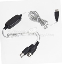New Converter PC to Music Keyboard Cord USB IN-OUT MIDI Interface Cable Free / Wholesale Drop Shipping(China)