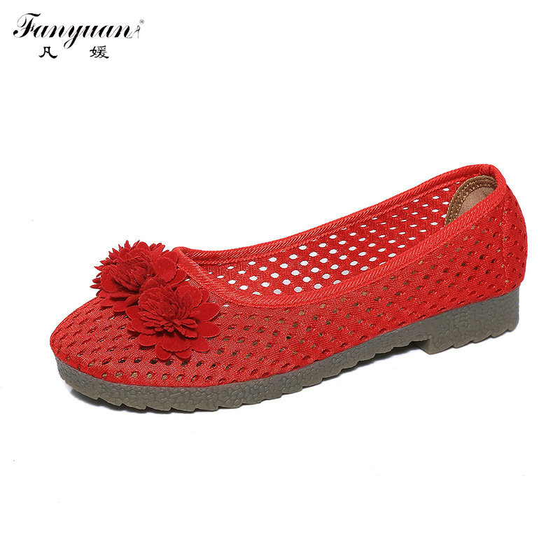 Breathable Air Mesh 2017 Summer Woman Flats Flower Fabric Shoes Comfort Round Toe Lady Flats Casual Cut-out Solid Slip-on Shoes <br><br>Aliexpress