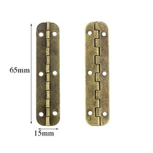 Yellow / Green bronze 65 * 15 mm long elliptical hinge 90  archaize wooden gift box 90 degree hinges X20