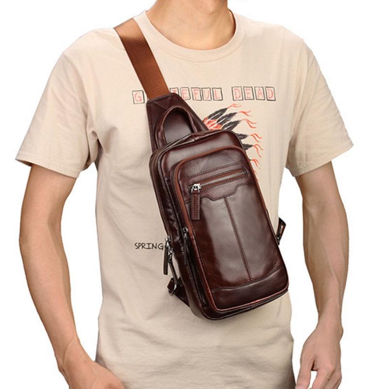 Men High Quality First Layer Cowhide Genuine Leather Sling Chest Bag Vintage Handbag Travel Messenge Shoulder CrossBody Bag<br>