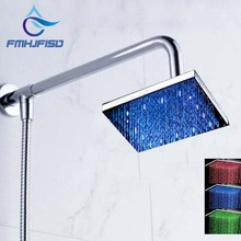 "Free Shipping Wholesale And Retail Promotion LED Color Changing 8"" Square Rain Shower Head + Shower Arm + Hose Wall Mounted"