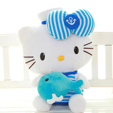 One Piece Hello Kitty Plush Toy Soft Lovely Doll Huging Fish KT Cat PP Cotton Dolls Birthday Girls&Boys Gifts 2 Colors