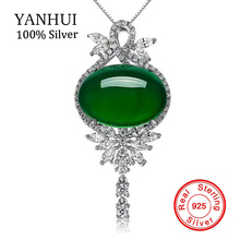 YANHUI Fashion Real 925 Sterling Silver Jewelry Natural Gem Crystal Malay Green Onyx Pendants Necklaces Charms Jewelry D232(China)