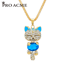 Pro Acme Lucky Smile Cat Pendant Necklace Women Crystal Long Necklaces & Pendants Sweater Chain Jewelry Christmas gift PN0257(China)