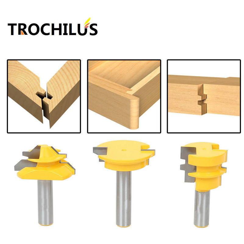 Woodworking tools Router Bit Set -Lock Miter/Glue Joint/Drawer Front router bits for wood/milling tools/wood milling cutter 3PCS<br>
