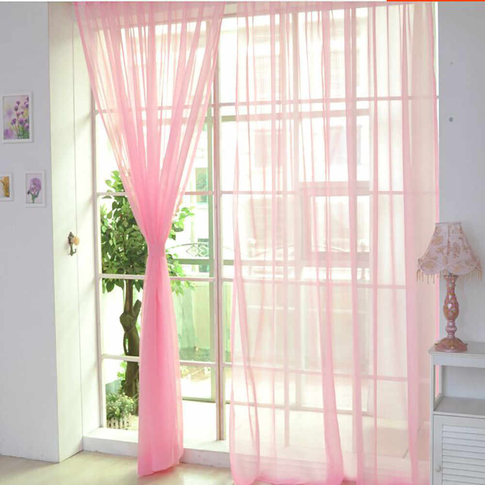 1 PCS style white Window Screening Solid Door Curtains Drape Panel Sheer Scarf Valances Tulle For Living Room l0701
