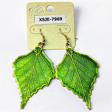 Now popular green noble women jewelry wholesale birthday party girl leaf earrings gift free shipping.