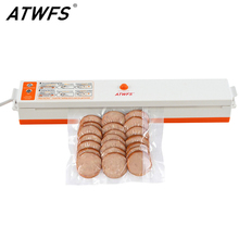 ATWFS 220V Household Food Vacuum Sealer Machine Vacuum Packing Machine Film Container Food Sealer Saver Include 15Pcs Bags Free(China)
