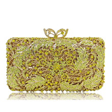 Women's Cocktail Prom Golden Crystal Clutch Evening Bags Bridal Wedding Dress Diamond Shoulder Bags Metal Clutches gold/yellow(China)