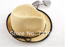 10pcs free shipping/Straw cowboy hat ,solid Sun hat fashion cap(China)