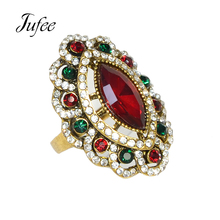 Jufee Vintage Style Luxury Brand Fashion Jewelry Antique Gold-Color With Rhinestone And Red Green Stone Ring For Women(China)