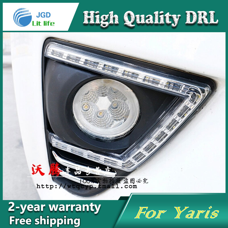 Free shipping ! 12V 6000k LED DRL Daytime running light case for Toyota YARiS 2014 2015 Fog lamp frame Fog light Car styling<br><br>Aliexpress