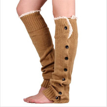 2017 New Hot-sale Button Lace Women Leg Warmers	Knitted Winter Boots Socks Cuffs Fashion Knee High Polainas Ladies' Beenarmers