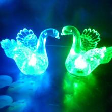 Cute Household Mini LED Night Swan Shaped Flash Crystal Lamp for Desk Bedroom Night Light Home Decoration Table LED Lamp gift(China)