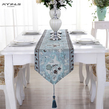 XYZLS Europe Style Table Runner Mulberry Silk Embroidered Table Runners with Tassels Wedding Home Table Decoration 1PCS(China)