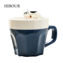 HIBOUR Creative Cartoon Coffee Mug Tea Milk Cups with Animals Original Design Cute Cartoonthree-dimensional Ceramic Mugs(China)