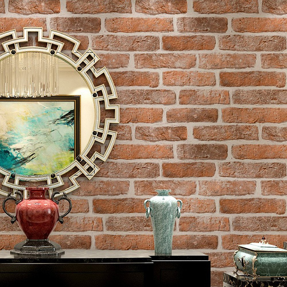 HaokHome Vintage Faux Brick Wallpaper Rolls Red/Cream 3D Realistic Stone Murals Home Bedroom Living room Wall Decoration<br>