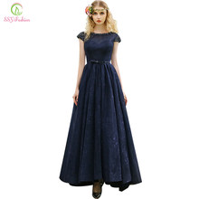 Clearance SSYFashion Evening Dress Navy Blue Lace Beading Cap Sleeve  Floor-length Banquet Elegant Party Gown Formal Dress 1c1f059cf76a