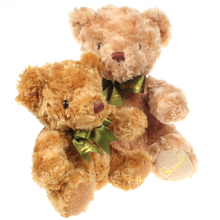Cute Sitting Teddy Bears Stuffed Animals Soft Plush Toys White Beige Brown Hold Bears with Silk Ribbon 20cm/25cm