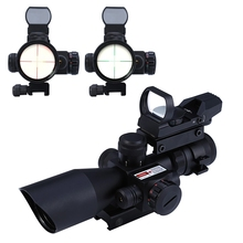 20mm Mil-dot Rail Mount Hunting Tactical Riflescope Hunting Optics 2.5 - 10X40 Red /Green Laser Dual Illuminated Scope Telescope