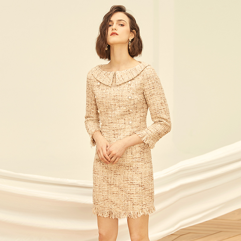 Tweed dress 2019 spring / autumn women's dress small dress ladies seven-point sleeves tweed party dress