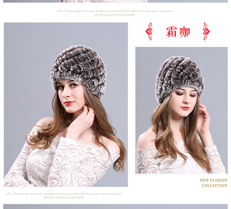 Women Genuine Knitted Rabbit Fur Hats For Women Real Fur Beanies Rex ... c5f255b27dfb