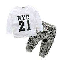 2017 Autumn Children Clothing Sets Baby Boy Cotton Long Sleeve T-shirt Tops+Pants Fashion Boys Clothes Set Infant 2 Pcs Suit