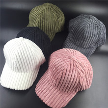 100% cotton Men Women Casual forward russia striped bone strapback corduroy  caps white green pink hat ladies cute baseball cap