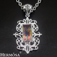 HERMOSA Jewelry Unique Fashion MYSTIC FIRE 925 Sterling Silver Necklace Pendants HM973(China)