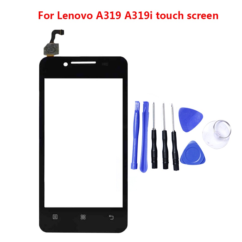 100% Tested Front Outer Glass Lenovo A319 A319i 319 Touchscreen Touch Screen Digitizer Panel Lens Sensor Tools Adhesive