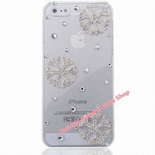 Free Shipping Crystal Diamond Hard Back Snow 3D Bling Rhinestone Phone Cases For Apple iphone 5s case for iphone 5 case(China)