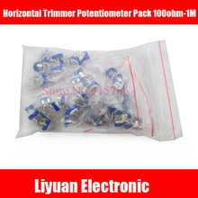 65Pcs Horizontal Trimmer Potentiometer Pack 100ohm-1M Trimmer Resistors Package Variable Adjustable Resistance Blue/White