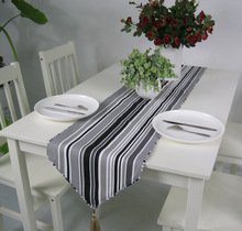 Thick cotton canvas table runner black and white striped table flag free shipping