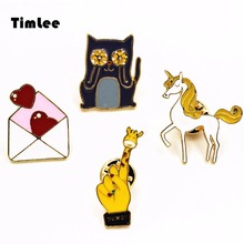 Timlee X240 Free shipping Cute Cartoon Unicorn Heart Envelope Cat  Giraffe  Hand Brooch Pins,Fashion Jewelry Wholesale