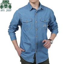 AFS JEEP 2015 New Arrival Men's Denim Full Sleeve Shirts,New Fashion Men's Polka Dot Cotton Shirts,Good Quality Men Cardigan(China)