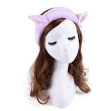 Lovely Cat Ears Headbands Women Girls Makeup Face Washing Headband Hairdo Facial Mask Headwrap Hairband(China)
