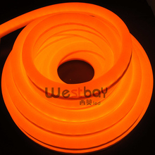 240V 12*26mm orange led neon flex with orange PVC coating,50 meters per lot,easy installation for DIY lights(China)