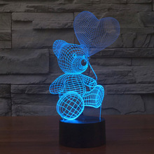 3D Lamp Bear Balloon Ball Toy Gift Acrylic Table Night Light Furniture Decorative Colorful Color Change Household Home Accessory