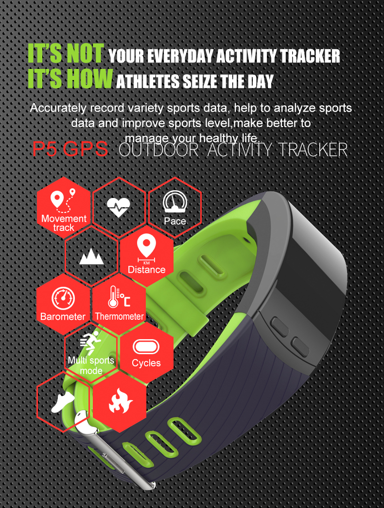 2018 P5 Smartbrand GPS - Smart Heart Rate Monitor Smart Band Watch Phone Activity Tracker (2)